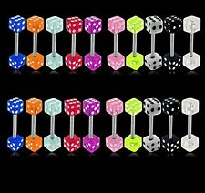 New Surgical Steel Tongue Bar Naval with Acrylic Dice 1.6mm x 19mm Many Colours