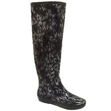 WOMENS BLACK SILVER KNEE HIGH WELLINGTON WELLIES RUBBER RAIN SNOW BOOTS SIZE 3-8