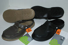 NEW NWT CROCS SHECON LEATHER BLACK or ESPRESSO brown slide shoes 5 6 7 womens