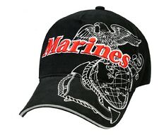 Rothco 9794 Deluxe Low Profile Cap - Marines Eagle Globe & Anchor - Black