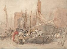 Harbor Scene With Fishing Boats Being Unloaded David Cox Art Poster/Photo Pri