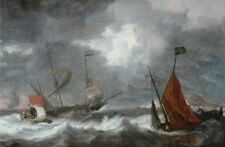 Sea Storm With Sailing Ships Bonaventura I Peeters 1650 Vintage Art Poster/Pho