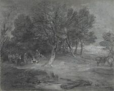 Wooded Landscape With Gypsy Encampment Thomas Gainsborough Unknown Art Poster /