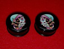 "New Acrylic Single Flared "" Gypsy Skull "" Solid Logo Plugs.( 2 Gauge to 1""inch)"