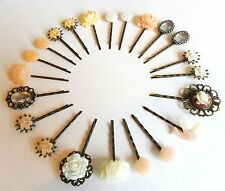 Hair Pins Grips Clips Slides Bobbies Accessories Bobby Flower Rhinestone Retro
