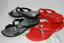 NWT NEW CROCS ADARA BLACK / SILVER or RED sandals slides shoes 9 10 women