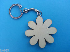 Wooden FLOWER keyring BLANK to decorate Other shapes available Cat Heart Car etc