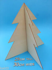 ONE 30cm 3D Wooden Christmas Tree VARIOUS CHOICES Plus other WOODEN Blank Items