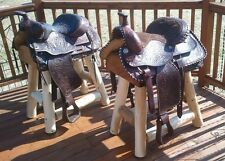 (2) Authentic Western Horse Saddle Bar Stools Barstools Decor Counter Rustic Log