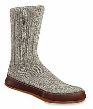 Acorn Wool & Leather Slipper Socks - Grey Twist 10118ACK Grey Tweed