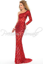 Precious Formals P8870 Red Lace Sequined Pageant Gala Gown Dress sz 6
