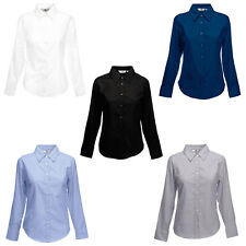 New Fruit of the Loom Womens Lady-Fit Oxford Long Sleeve Shirt 5 Colours XS-3XL