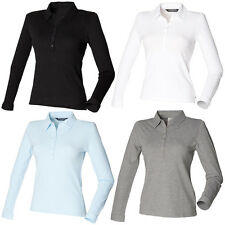 New SKINNI FIT Womens Ladies Long Sleeve Stretch Polo Shirt 4 Colours S-XL