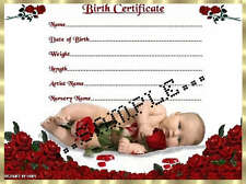 "RED ROSES BABY BIRTH CERTIFICATE/CERTIFICATES 4 REBORN FAKE BABY approx 7""x 5"""