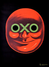 Red OXO face, black background Decorative Poster. Home Graphic Art Design. 4124
