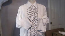 BOYS GIRLS WHITE L&M TUXEDO SHIRT, RUFFLES WITH TRIM , US MADE, 70'S VINTAGE