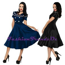 50s Rockabilly  Sailor Pinup Retro Nautical Costume Vintage Formal Dress 8 - 28