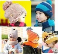 U-Pick Child Knit Hat Scarf Set Toddler Boy/Girl Crochet Fall Winter Beanie -USA