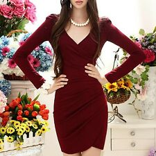 Fashion sexy Ruched V-Neck long Sleeves Sheath Little wine red Dress hot sell