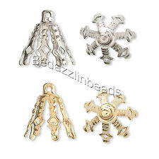 Wholesale Lot of 100 Big 10mm Plated Brass Bell Bead End Cap Charms with Loop