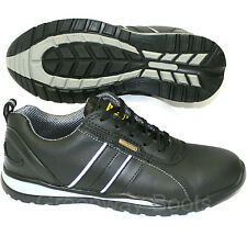 MENS LADIES LEATHER STEEL TOE CAP TRAINERS BLACK SAFETY WORK SHOES LACE UP SIZES
