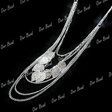 1 Chic Lady's Silver Tone Multi Strands Tree Leaf Sweater Necklace Long Chains