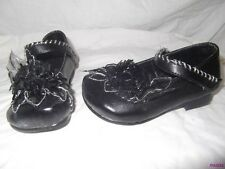 GIRLS BROWN OR BLACK SILVER DRESS SHOES SIZE 6 NEW LACE FLOWER