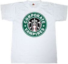 CORPORATE VAMPIRES STARBUCKS COFFEE T-SHIRT 100% COTTON PROTEST LOGO T SHIRT