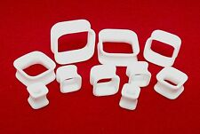 New Acrylic Double Flared White Square Shaped Hollow Tube Plugs.( 6 g To 1inch)