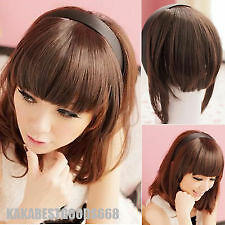 Women Synthetic Headband False Bangs Fringe Neat Clip hairpiece Hair Extensions