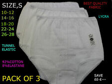 3 PAIRS LADIES COTTON/ LYCRA  FULL BRIEFS SIZES BLACK WHITE ASSORTED KNICKERS