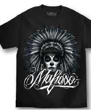 AUTHENTIC  MAFIOSO CLOTHING  MUERTE CHIEF INDIAN  GANGSTER GUN T SHIRT