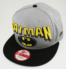 NEW ERA - 9FIFTY SNAP BACK CAP. DC COMICS HERO BLOCK BATMAN. Grey/Black.