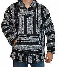 Small Baja Hoodie Hippie Surfer Mexican Poncho Sweater Assorted Colors Skater