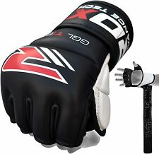 Authentic RDX Leather MMA 7oz Pro Grappling Gloves Fight Boxing UFC Punch Bag U
