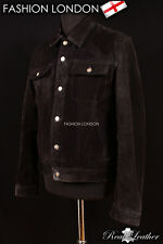 'ARIZONA' Men's Black SUEDE Stitch Western Real Cowhide Leather Classic Jacket