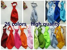 Mens New Italian Satin Wedding Ruche Cravat Tie variety of colors