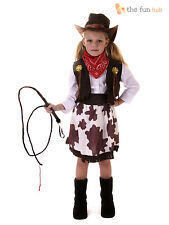 Girls Cowgirl Cowboy Western Rodeo Fancy Dress Costume+ Hat Book Week Age 2-12