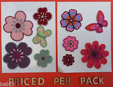 Iron On Patches BUTTERFLY & FLOWER SET OtherChoicesAvailable + Sew SelfAdhesive