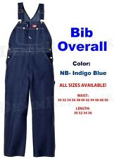 NEW DICKIES BIB OVERALLS 83294NB DENIM INDIGO RINSE BLUE 100% COTTON NWT MENS