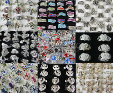 New Lot Mixed Colors More Styles Crystal Rhinestone Silver Golden Metal Rings