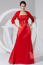 Full Length Claret Taffeta MOTHER OF Bride/Groom OUTFIT SIZE 18,20,22,24,26,28#