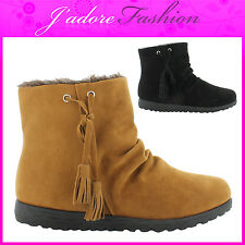 NEW LADIES  SLIP ON TASSLE CASUAL FURRY FASHION WINTER  ANKLE BOOTS SIZES UK 3-8
