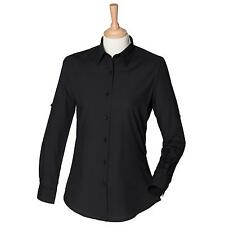 New Skinni Fit Womens Ladies Casual Long Roll Sleeve Shirt Black Size S-XL