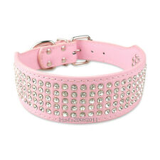 Pink New Bling Rhinestone Dog Collars Leather Crystal Jeweled Pet Collar 5Size