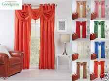 Chelsea Faux Silk Grommet Curtain Panels & Valances - Assorted Colors