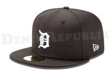 New Era 59FIFTY DETROIT TIGERS Black - White Cap 5950 MLB Baseball Fitted Hat