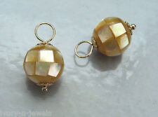 AAA 10mm Mosaic Golden Lip Shell INTERCHANGEABLE Earring Charms YG or SS