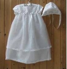 NWT Baby Girl's Christening Baptism Dress Gown Bonnet  Set  Size 3 - 6M  6 - 9M