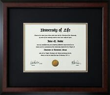 "Walnut Wood Frame with mats & glass for 11x17"" Diploma Certificate Document"